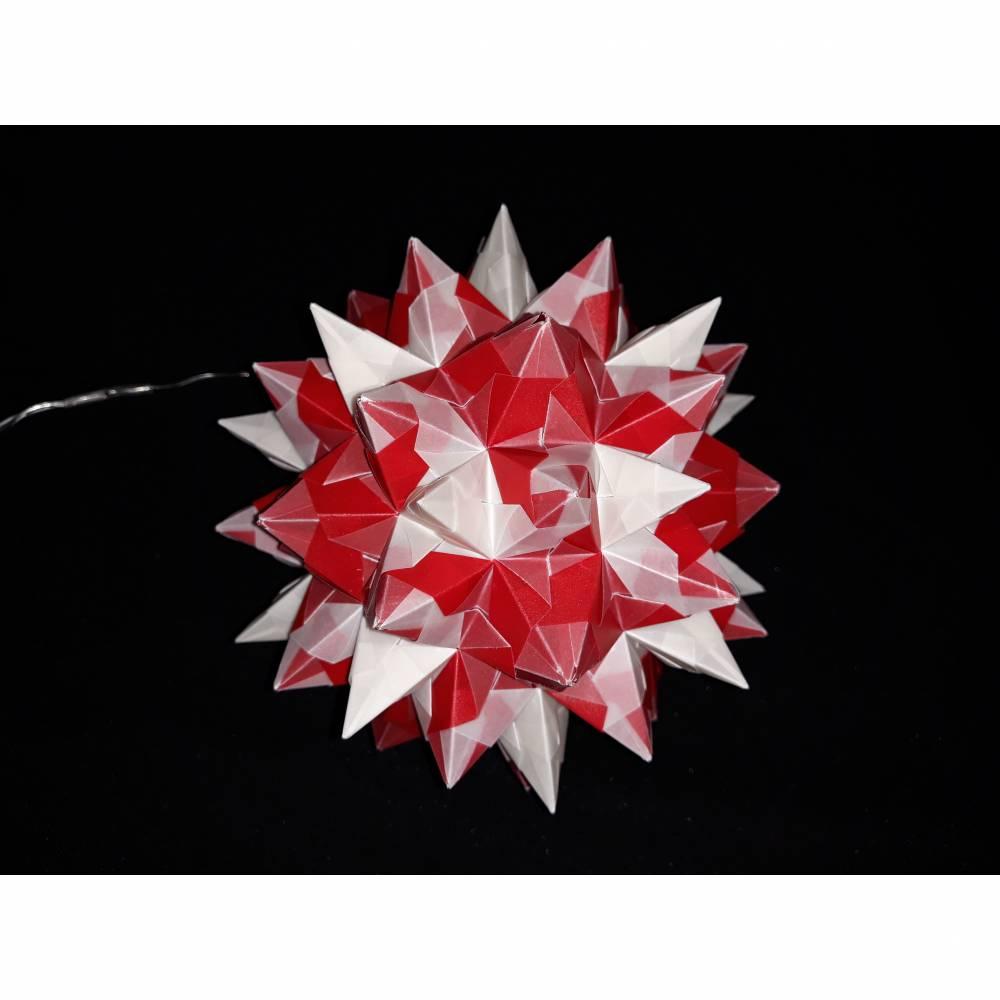 """Bascettastern """"Rhombo Stern"""" beleuchtet mit LED Lichterkette mit USB-Anschluß, transparent/rot, Weihnachten Bild 1"""