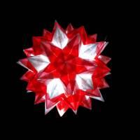 """Bascettastern """"Rhombo Stern"""" beleuchtet mit LED Lichterkette mit USB-Anschluß, transparent/rot, Weihnachten Bild 2"""