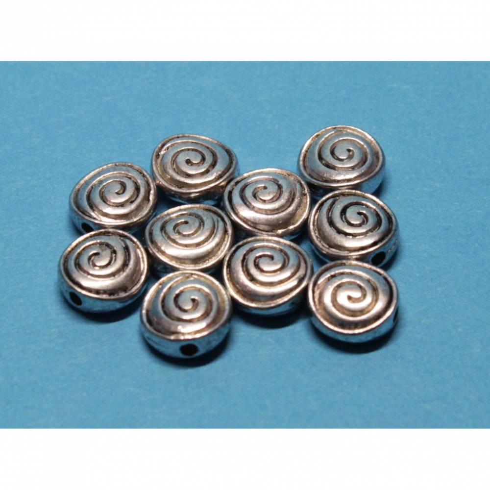 10 x Metallperlen Schnecke, Sonne, ca. 8 mm Durchmesser Bild 1