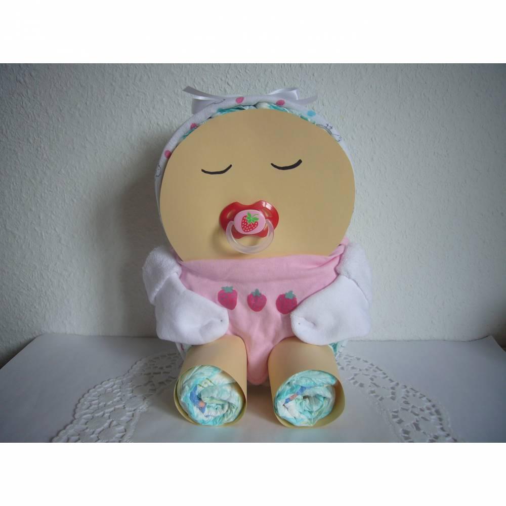 Windeltorte Mädchen Baby Windelbaby Erdbeeren rosa rot Dreieckstuch Schnuller Mullwindel Bild 1