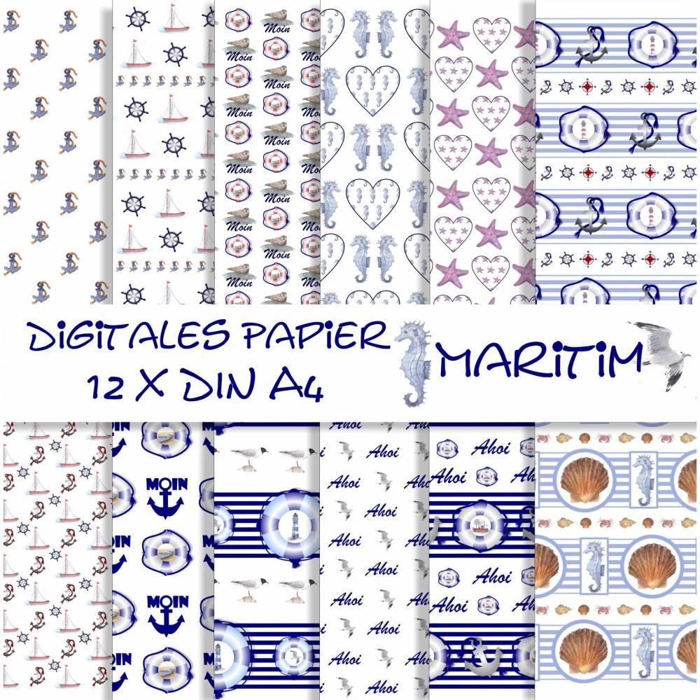 Scrapbooking Papier maritim, Blautöne, 12 Seiten zum Ausdrucken Bild 1