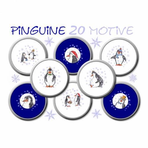 Button-Vorlagen, Pinguine, Cabochon Vorlagen, 20 Motive, Winter, Aquarell, Weihnachten, Buttons, Größe nach Wahl, z.B. für Cabochonschmuck