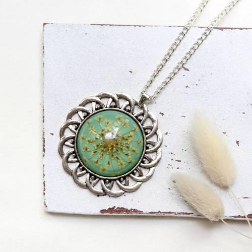 Boho Sonne • Halskette silber   Blumenschmuck   Vintage   Halsschmuck   Geschenke für Frauen   Freundin   Schwester   Mama