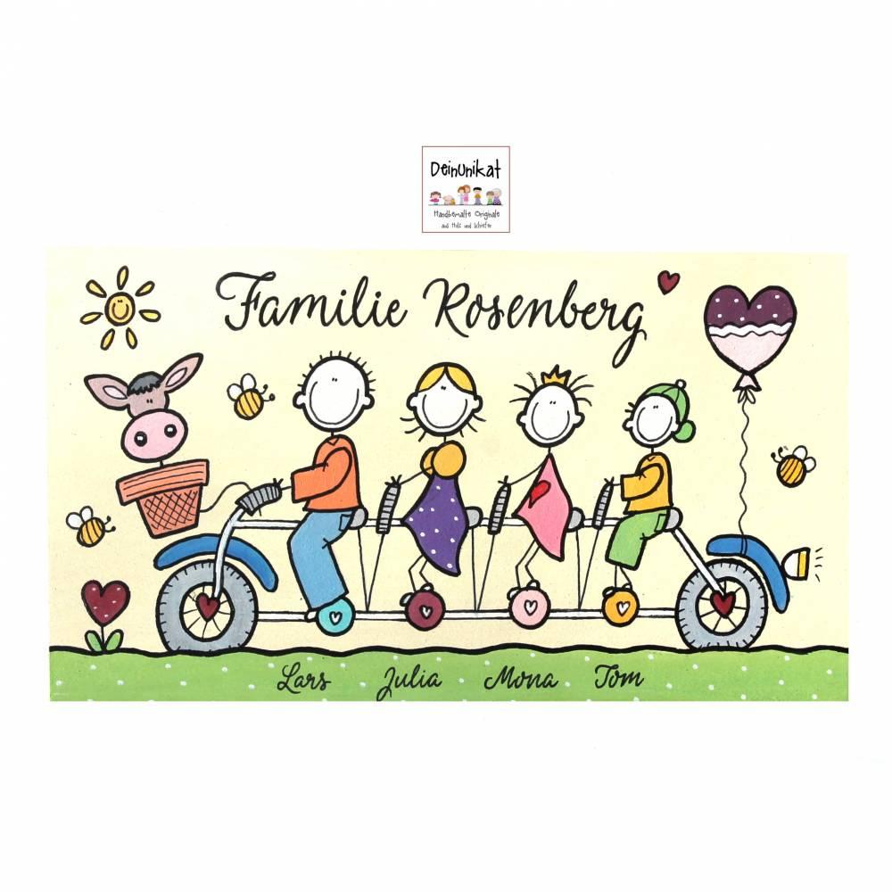 Familienschild Türschild Holz Namensschild Familie auf Fahrrad Holzschild Tandem handbemalt Wunschtext Wunschfiguren Bild 1