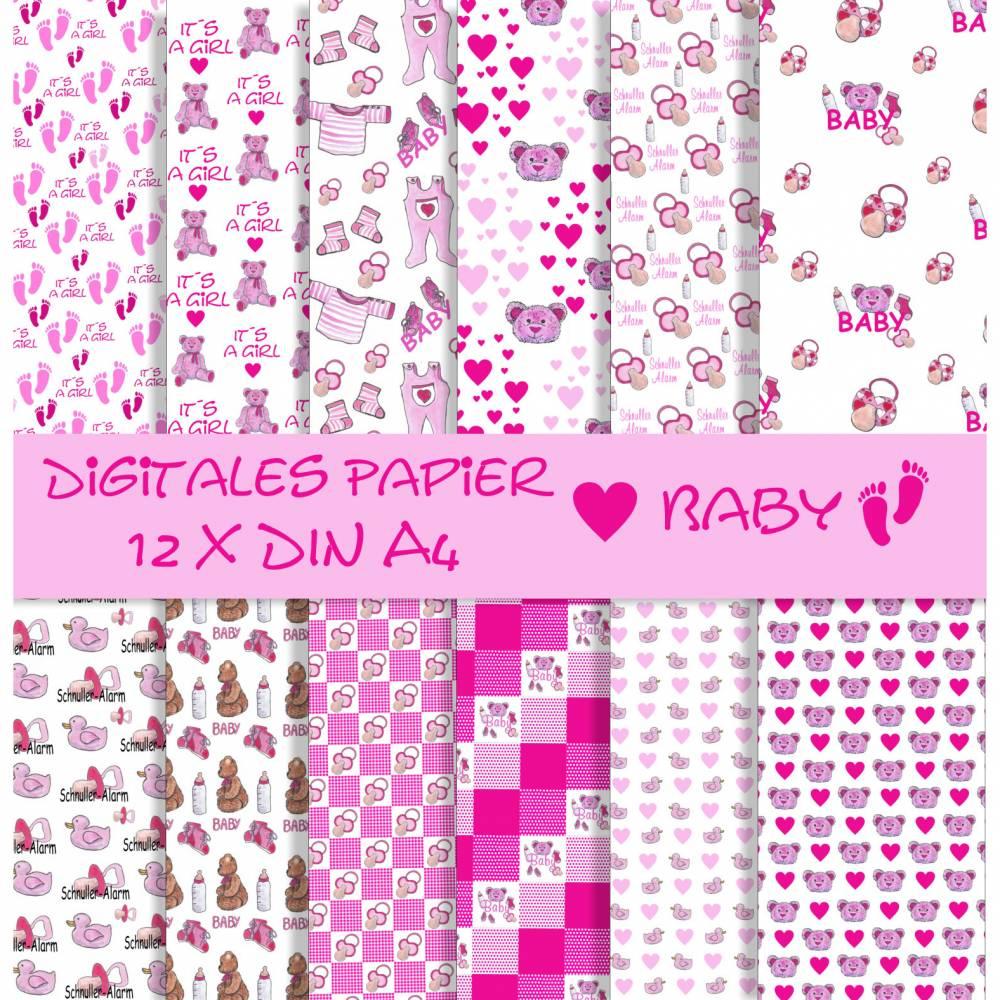 Scrapbooking Papier Baby, Mädchen, 12 Seiten zum Ausdrucken Bild 1
