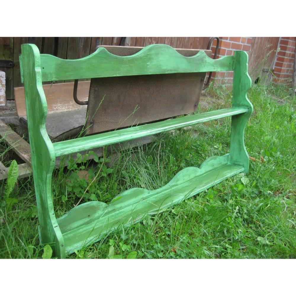 Wandregal Shabby Chic Regal Vintage Tellerregal grün Kreidefarbe Annie Sloan *Old Market* Shabby Chic Handarbeit von pimp-factory Bild 1