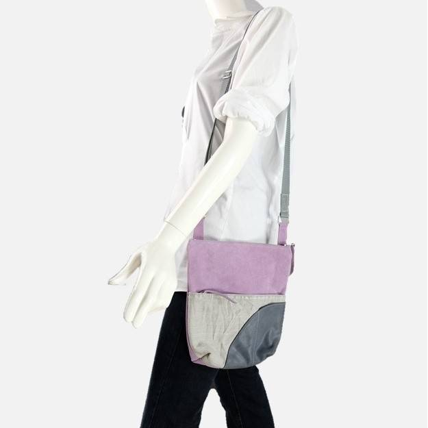 Schultertasche in Leder-Jeans-Kombi,in flieder/grau Bild 1