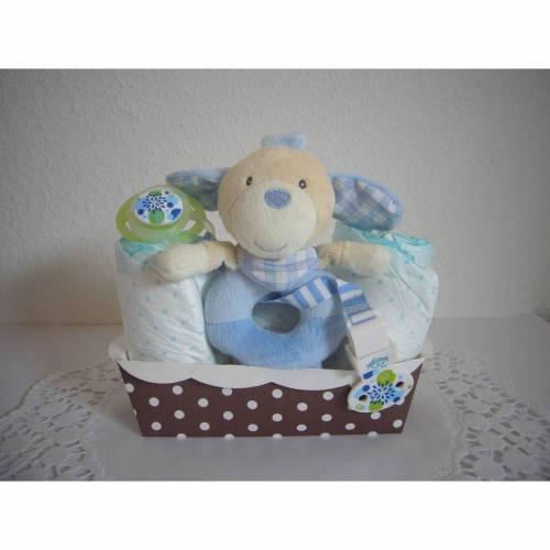 Windeltorte Geldgeschenk Junge blau Hund Greifling Geschenk Babyparty Geburt Taufe
