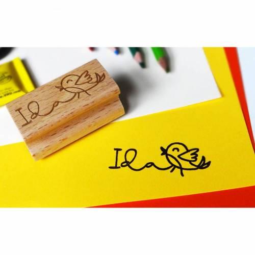 Kinderstempel mit Name und kleinem Vogel, Vorschulkind, Einschulung, Kindergartenkind, Schultüte, Einschulungsgeschenk