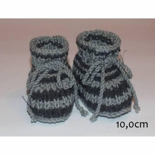 Babyschuhe gestrickt in grau/dunkelgrau 10,0cm Größe 15/16
