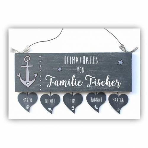 Türschild Familie personalisiert Holzschild Heimathafen maritim mit Herzanhänger