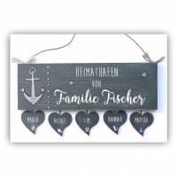 Shabby Türschild Familie personalisiert Holzschild Heimathafen maritim mit Herzanhänger und Anker Bild 1