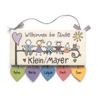 Türschild Familie personalisiert mit Herzanhänger Bild 1