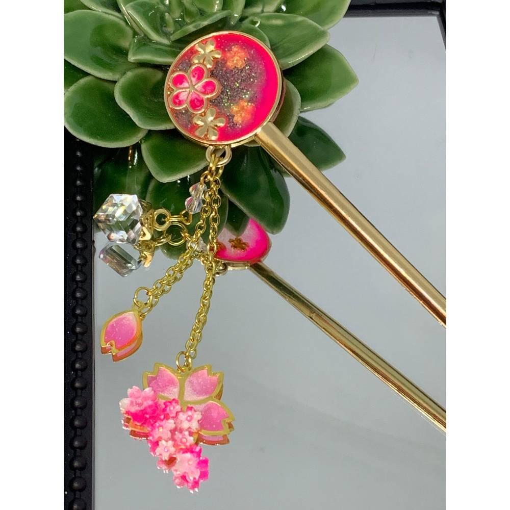 Haarstäbchen im Sakura / Kirschblüten Design aus Metall Bild 1