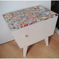 Shabby Chic Vintage Kommode, Briefmarken Patchwork, upcycling *Lifetime Friendship* Shabby Chic Handarbeit von pimp-factory Bild 1
