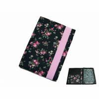 aufklappbare eReader Hülle Moosröschen schwarz rosa bis max 8 Zoll, Maßanfertigung Bild 1