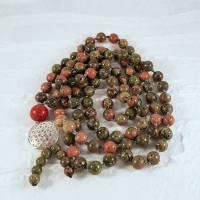Edelsteinhalskette,  Malakette aus Unakit und Koralle, Blume des Lebens aus 925er Silber Bild 1