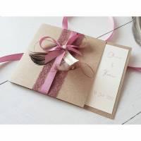 Hochzeitseinladung, Einladung Hochzeit Boho, Einladungskarte, Hochzeitskarten, Hochzeitspapeterie, Spitze Bild 1