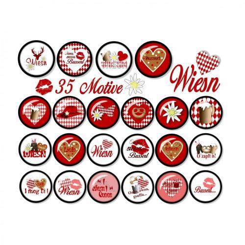 Cabochon-Vorlagen digital Wiesn Rot, 35 Motive, rund, Größe nach Wahl, z.B. für Cabochon-Schmuck, Oktoberfest, Lebkuchenherz, Brezel, Maß