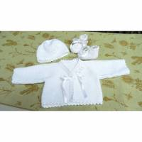 Baby-Set Taufe, Tauf-Jacke, Mütze, Schuhe, Baumwolle Gr. 68/74 Bild 1