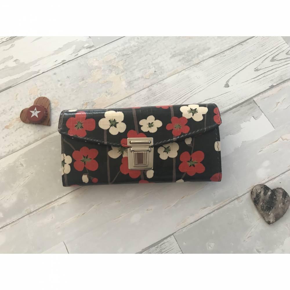 Geldbörse Geldbeutel Geldtasche Blumen beschichtete Baumwolle Asia Bild 1