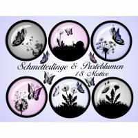 Cabochon-Bilder zum Ausdrucken, Schmetterlinge & Pusteblumen, Löwenzahn, rosa, grau, 18 Motive, rund, Größe nach Wahl, z.B. für Cabochon-Schmuck