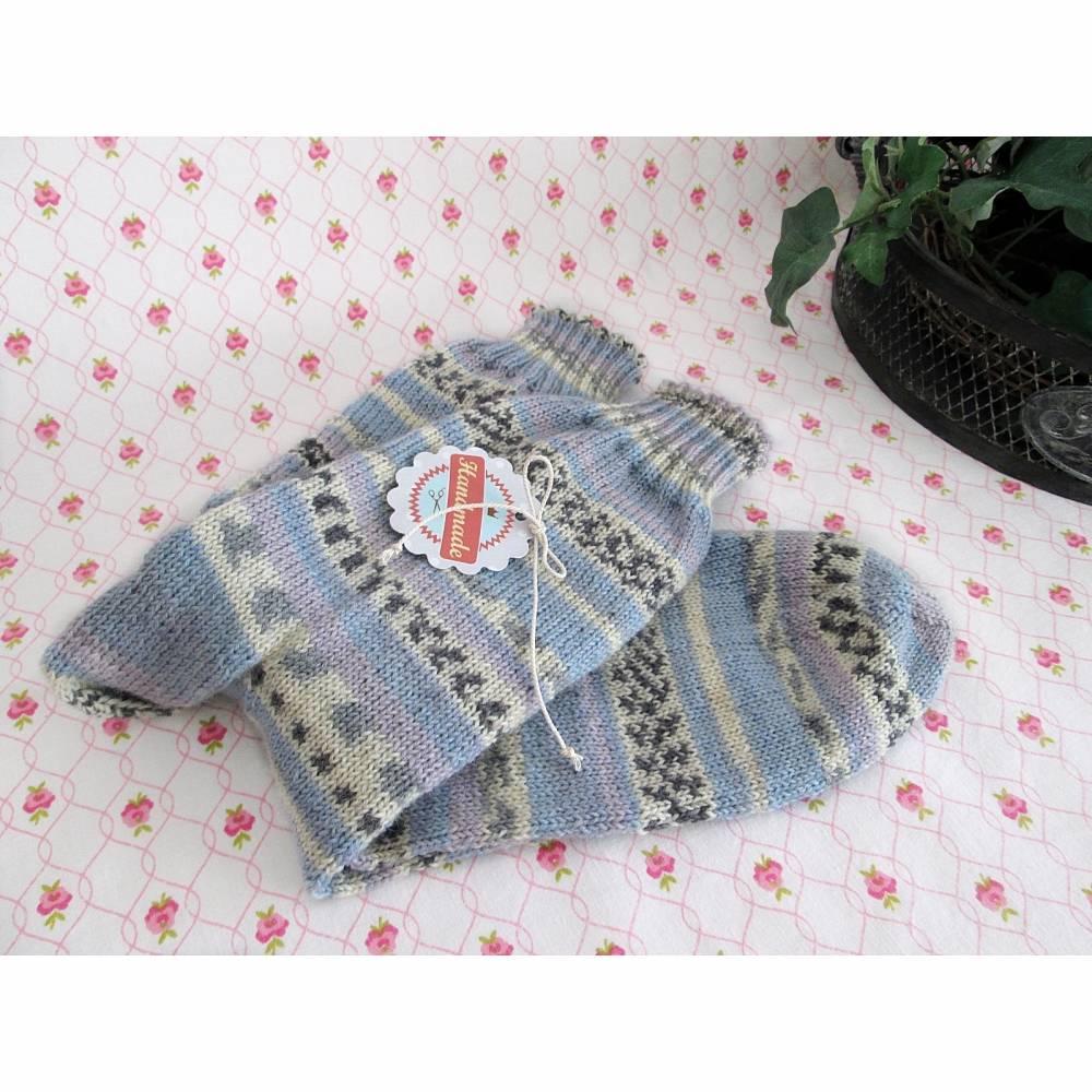 Männersocken Gr. 44/45, handgestrickte Socken blau, grau, lila - Wollsocken, Herrensocken Bild 1