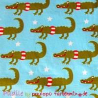 Püdile-Jersey /Farbenmix türkis mit Krokodil 0,5m Bild 1