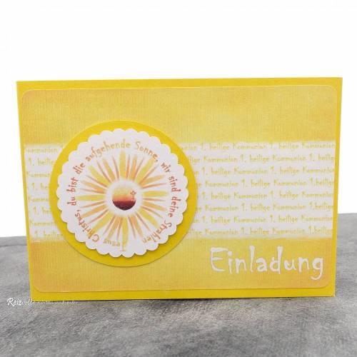 Einladungskarte Kommunion Sonne