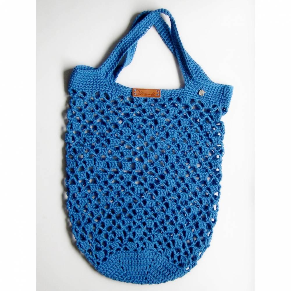 Einkaufsnetz, blaue Netztasche gehäkelt, Einkaufsnetz, Strandbeutel, Marktbeutel Bild 1
