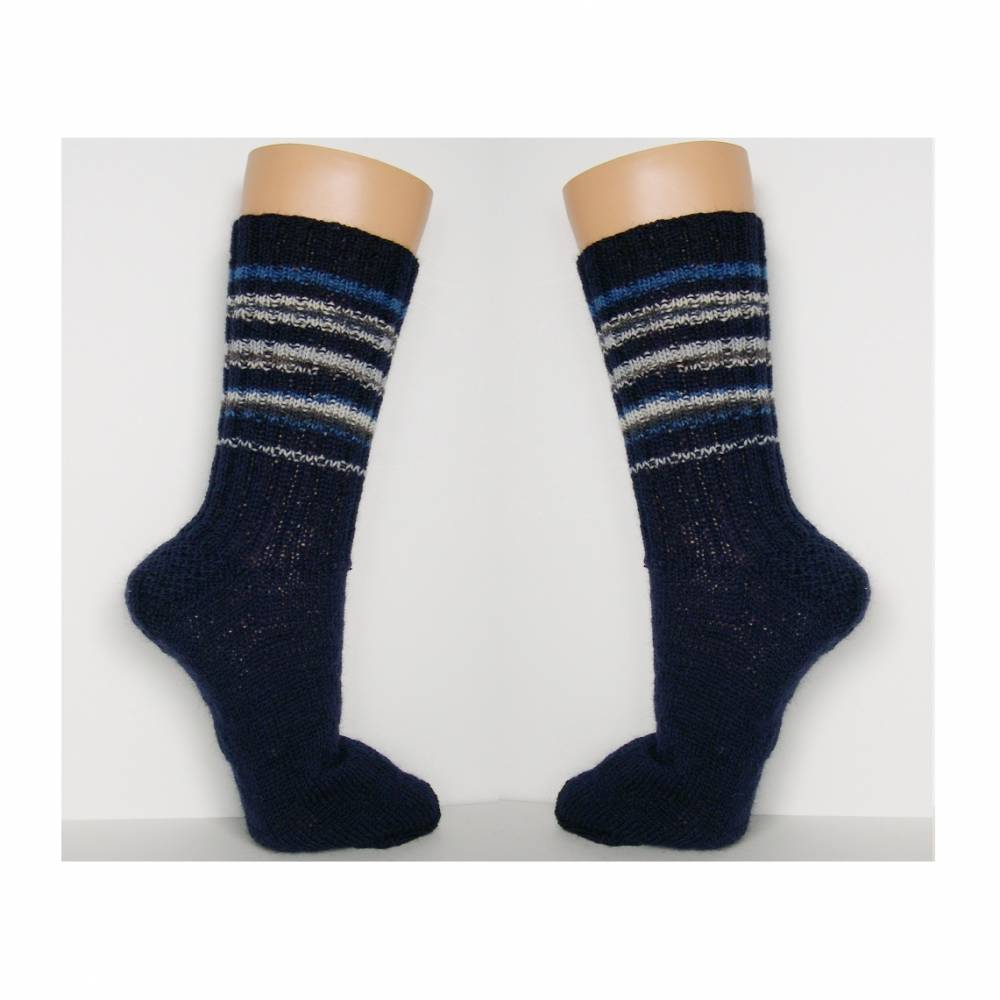 Herrensocken, Männersocken, dunkelblau, handgestrickte Socken Männer, Wollsocken, Ringelsocken Herren, Socken, 42, 43,44, 45, 46, 47, 48, 49 , 50 Bild 1