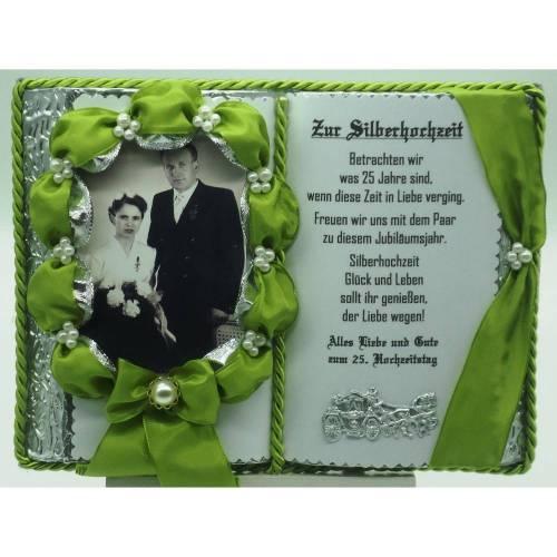Silberhochzeit - 25-jähriges Ehejubilläum - Dekobuch (apfelgrün) für Foto mit Holz-Buchständer Schmuckbücher für alle Anlässe