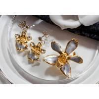 Schmuckset Orchidee lila, Brosche/Anhänger, Ohrstecker, 70er, 80er Jahre,Trödel Dings da Bild 1
