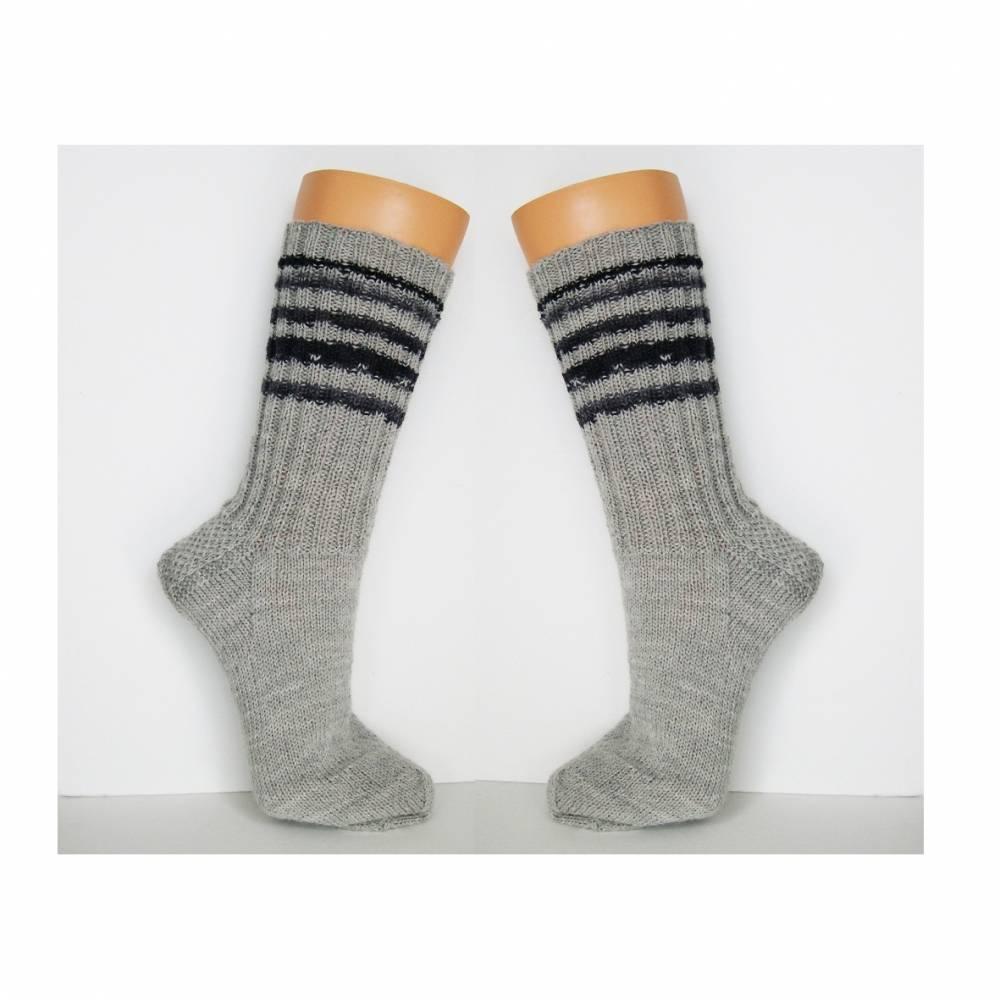Herrensocken, Männersocken, hellgrau, handgestrickte Socken Männer, Wollsocken, Ringelsocken Herren, Socken grau, 42, 43,44, 45, 46, 47, 48, 49, 50 Bild 1