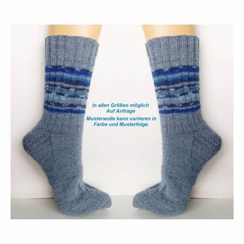 Herrensocken, Männersocken, blau, jeans-blau, handgestrickte Socken Männer, Wollsocken, Ringelsocken Herren, Socken, 42, 43,44, 45, 46, 47, 48, 49, 50
