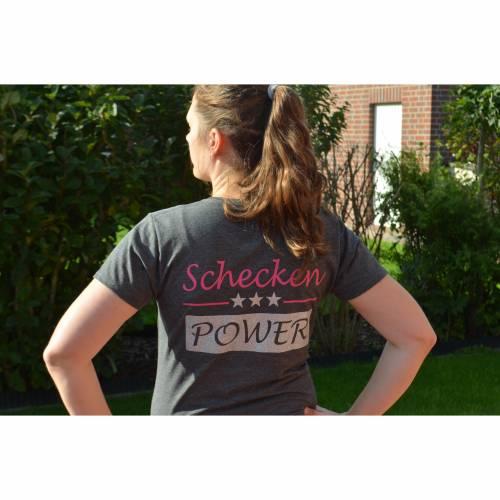 T-Shirt - Schecken Power - grau - für Damen - Gr. L