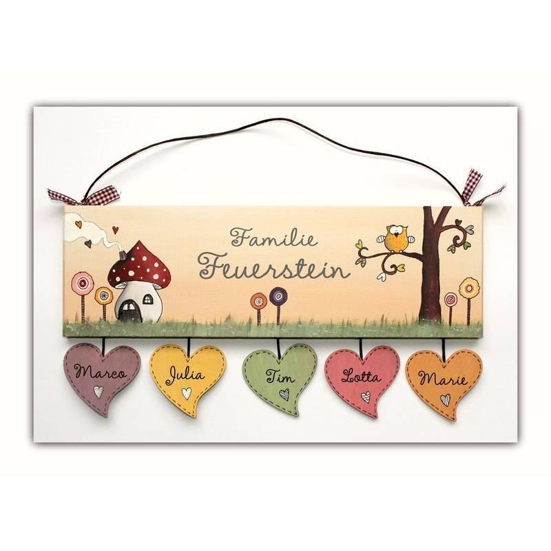 Türschild Familie Eule Pastellfarben Pilzhaus personalisiert mit Herzanhänger, Familientürschild Holz Bild 1