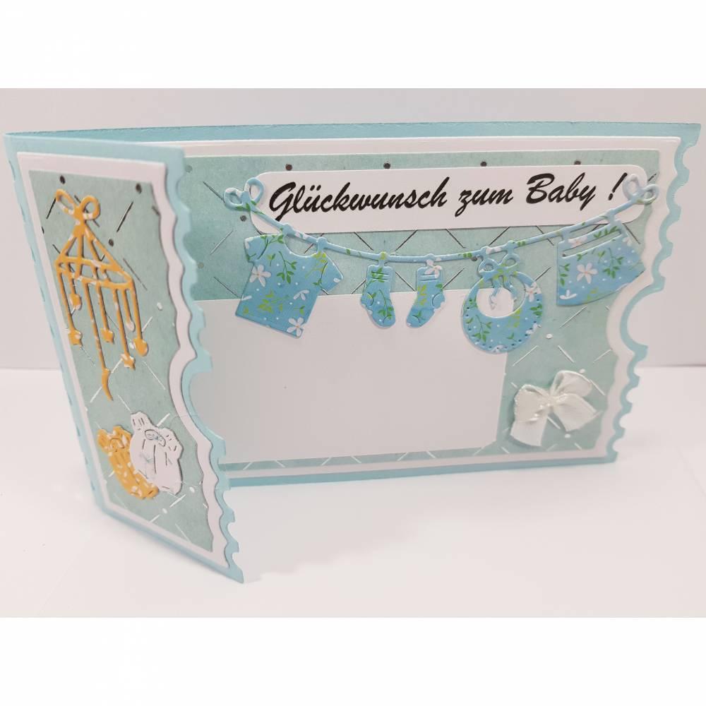 Babykarte Junge-Karte zur Geburt-Grußkarte Baby blau Bild 1