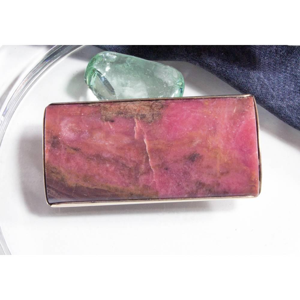 Vintage Silberbrosche aus Russland, Rhodonit, Halbedelstein, rosa, grau, alte Brosche, Trödel Dings da Bild 1