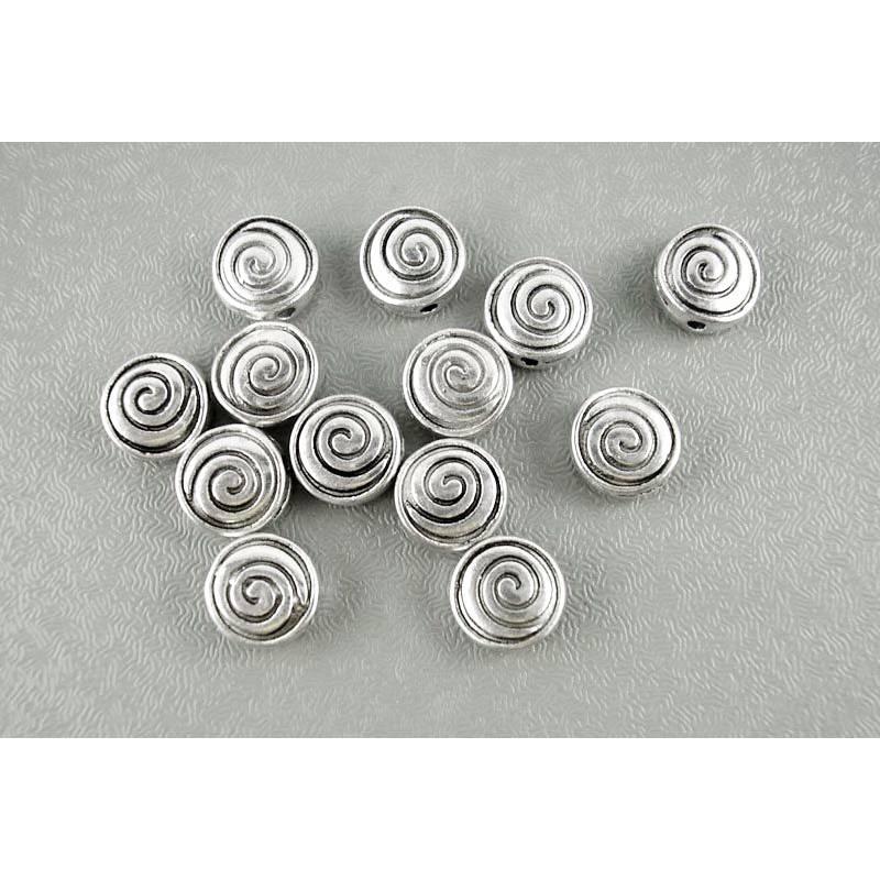 Metallperlen Spacer Perlen Spirale flach rund silberfarben 8 mm Bild 1