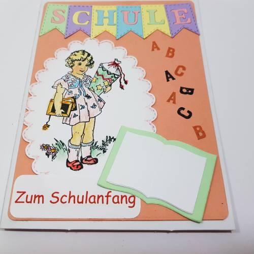 Einschulung Mädchen Grußkarte Retro Zuckertüte ABC Glückwunschkarte
