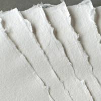 10 Blatt handgeschöpftes, weißes Papier, ca. 21 cm x 30 cm, ca. 130 g/qm bis 160 g/qm, Büttenpapier, Künstlerpapier, Briefpapier Bild 2