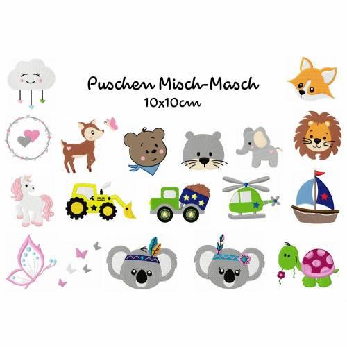 Stickdatei Puschen Misch-Masch, digitale Stickdatei,Stickdateien Puschen 10x10cm