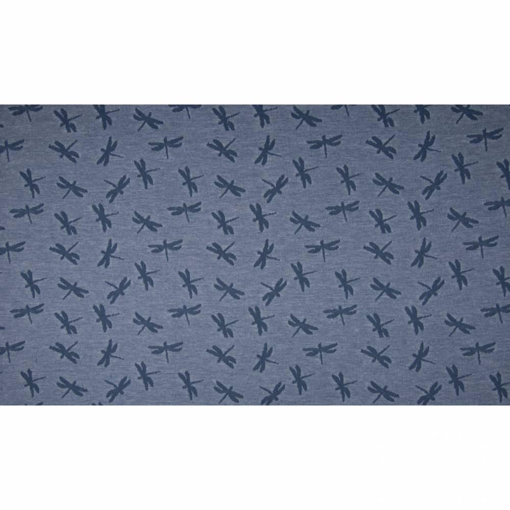 13,90EUR/m mega cooler, trendiger Jaquard Jersey Libellen jeansblau Bild 1