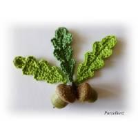 3 gehäkelte Eichenblätter - Eichenlaub - Häkelapplikationen grün Bild 1