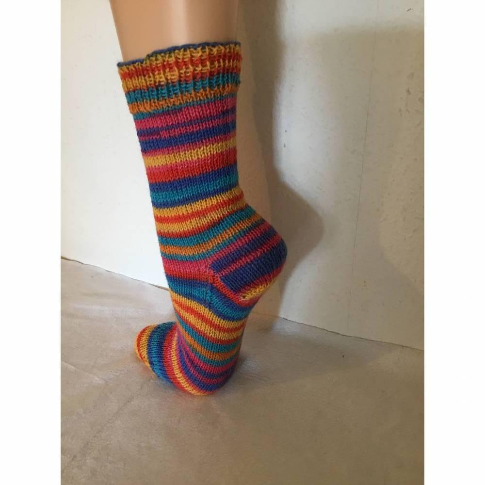 40 41 orange blau braun gelb bunte gestreifte  gestrickte Socken handgestrickt Frauen M\u00e4nner Stricksocken handgestrickt