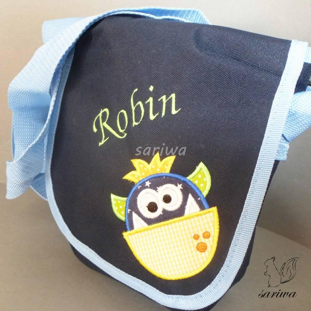Kindergarten- / Kita-Tasche bestickt mit einem kleinen Monster +  Wunschname Bild 1