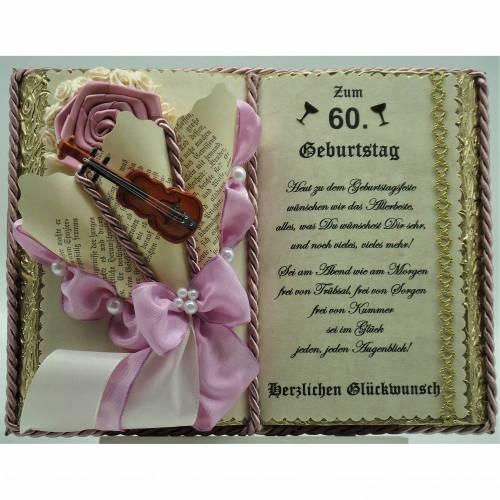 60. Geburtstag – Dekobuch altrosa/gold mit Holz-Buchständer, Schmuckbücher für alle Anlässe