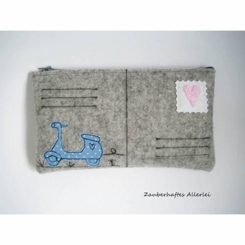 Federmäppchen Mäppchen Motorroller blau