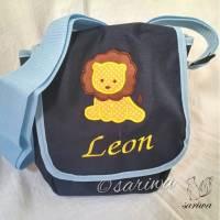 Kindergarten- / Kita-Tasche bestickt mit Löwe +  Wunschname Bild 1